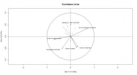 Figure 7.1: Correlation circle of the FAMD analysis of the foreign subsidiaries among the Top 107 firms, current selection.